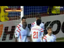 Wspaniały wolej Denisa Suareza w meczu z Zenitem