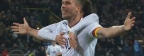 Piękny gol Podolskiego na pożegnanie z reprezentacją